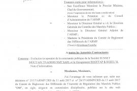Exclusion temporaire de la commande publique de la Société SUNSET MOUTAIN TRADERS SMT SARL et le Groupement SOGETAP & REEEL'H.