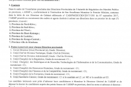AVIS DE RECRUTEMENT GENERAL DE L'ARMP EN PROVINCES.