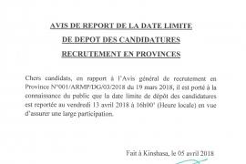Avis de report de la date limite de dépôt des candidatures